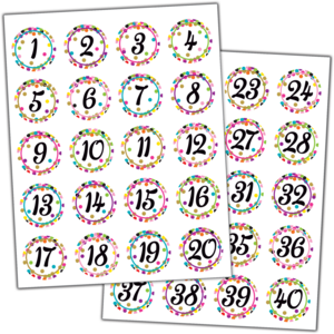 TCR5574 Confetti Numbers Stickers Image