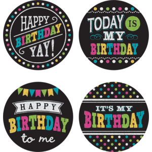TCR5601 Chalkboard Brights Happy Birthday Wear 'Em Badges Image