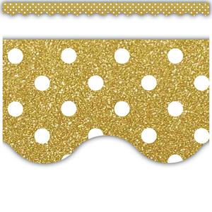 TCR5610 Gold Shimmer Polka Dots Scalloped Border Trim Image
