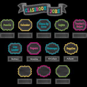 TCR5653 Chalkboard Brights Classroom Jobs Mini Bulletin Board Image