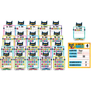 TCR62005 Pete the Cat Numbers 0-20 Bulletin Board Image