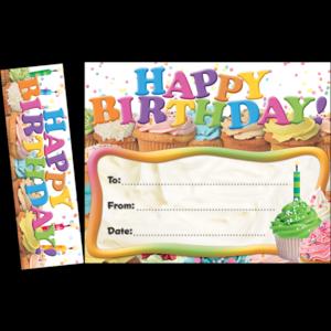 TCR63024 Happy Birthday Cupcakes Bookmark Awards Image
