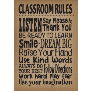 TCR7403 Burlap Classroom Rules Positive Poster Image