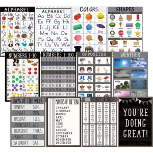TCR7455 Modern Farmhouse Early Learning Small Poster Pack Image
