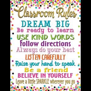 TCR7553 Confetti Classroom Rules Chart Image