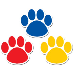 TCR77207 Colorful Paw Prints Magnetic Accents Image