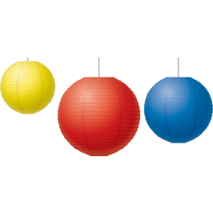 TCR77230 Red, Yellow & Blue Paper Lanterns Image