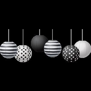 """TCR77488 Black & White 8"""" Hanging Paper Lanterns Image"""