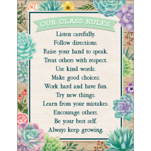 TCR7974 Rustic Bloom Our Class Rules Chart Image