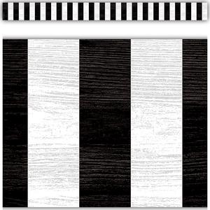 TCR8512 Modern Farmhouse Black Stripes Straight Border Trim Image