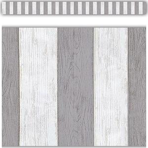 TCR8515 Modern Farmhouse Gray Stripes Straight Border Trim Image