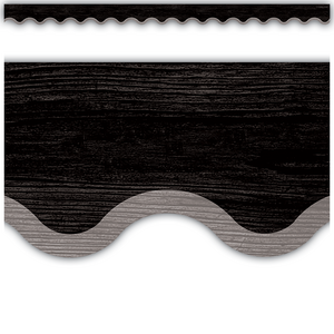 TCR8516 Modern Farmhouse Black with Gray Scalloped Border Trim Image