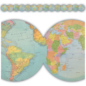TCR8640 Travel the Map Globes Die-Cut Border Trim Image