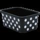 White Polka Dots on Black Small Plastic Storage Bin 6 pack Alternate Image A