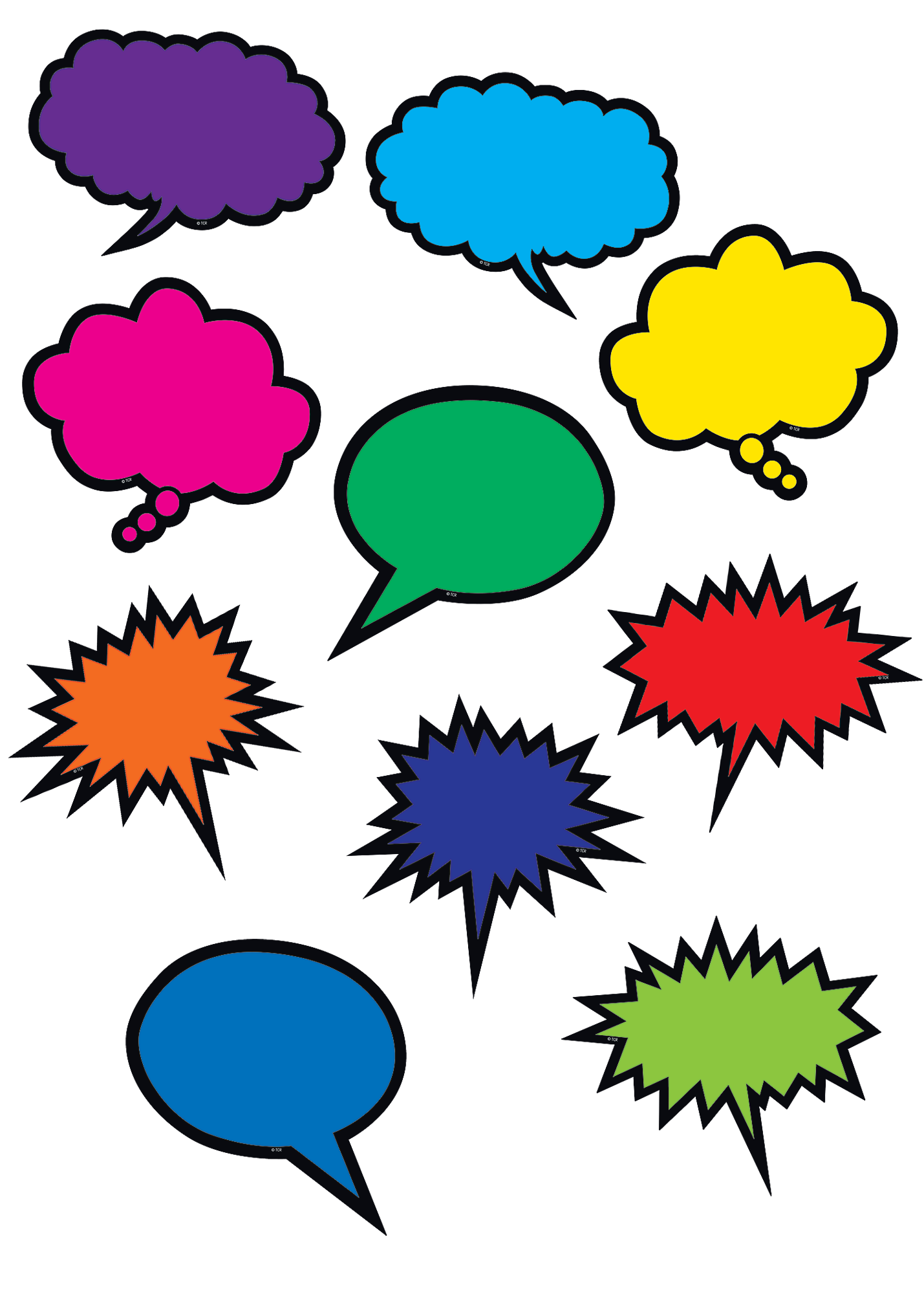 Colorful Speech Thought Bubbles Accents Tcr2145 Teacher Created Resources