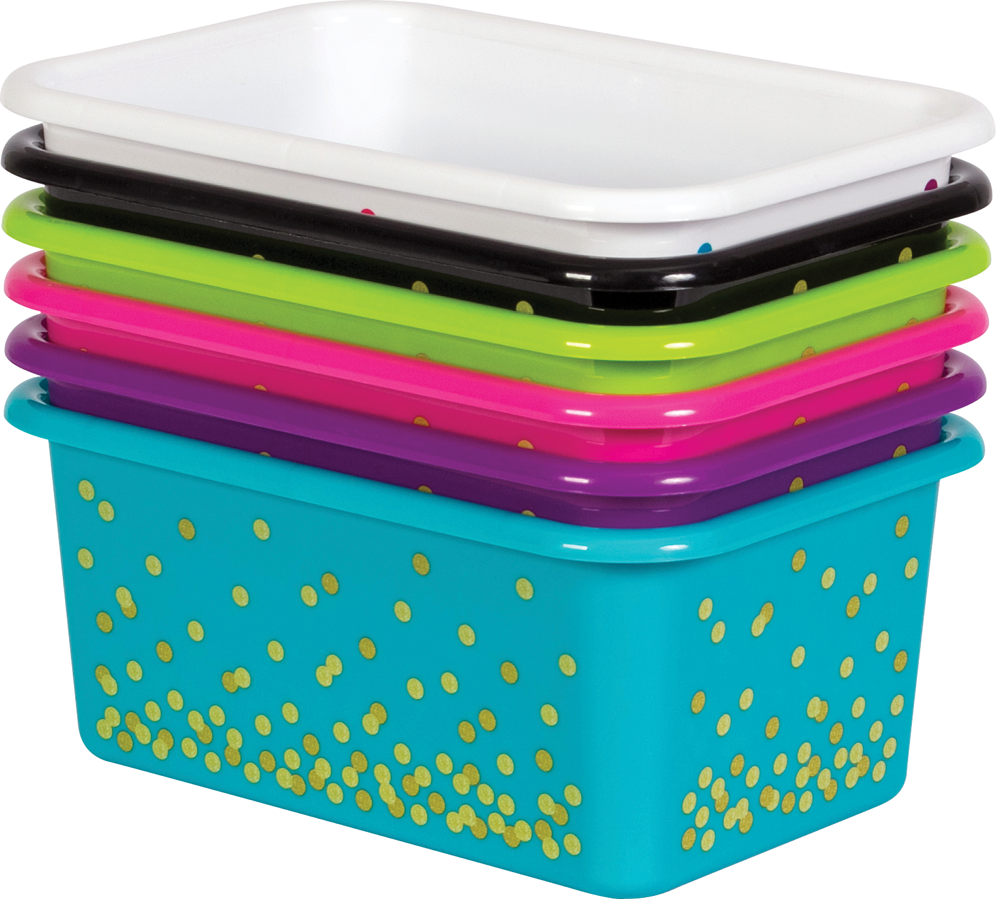 Assorted Confetti Small Plastic Storage Bins Set 6 Pack Tcr32217 Teacher Created Resources