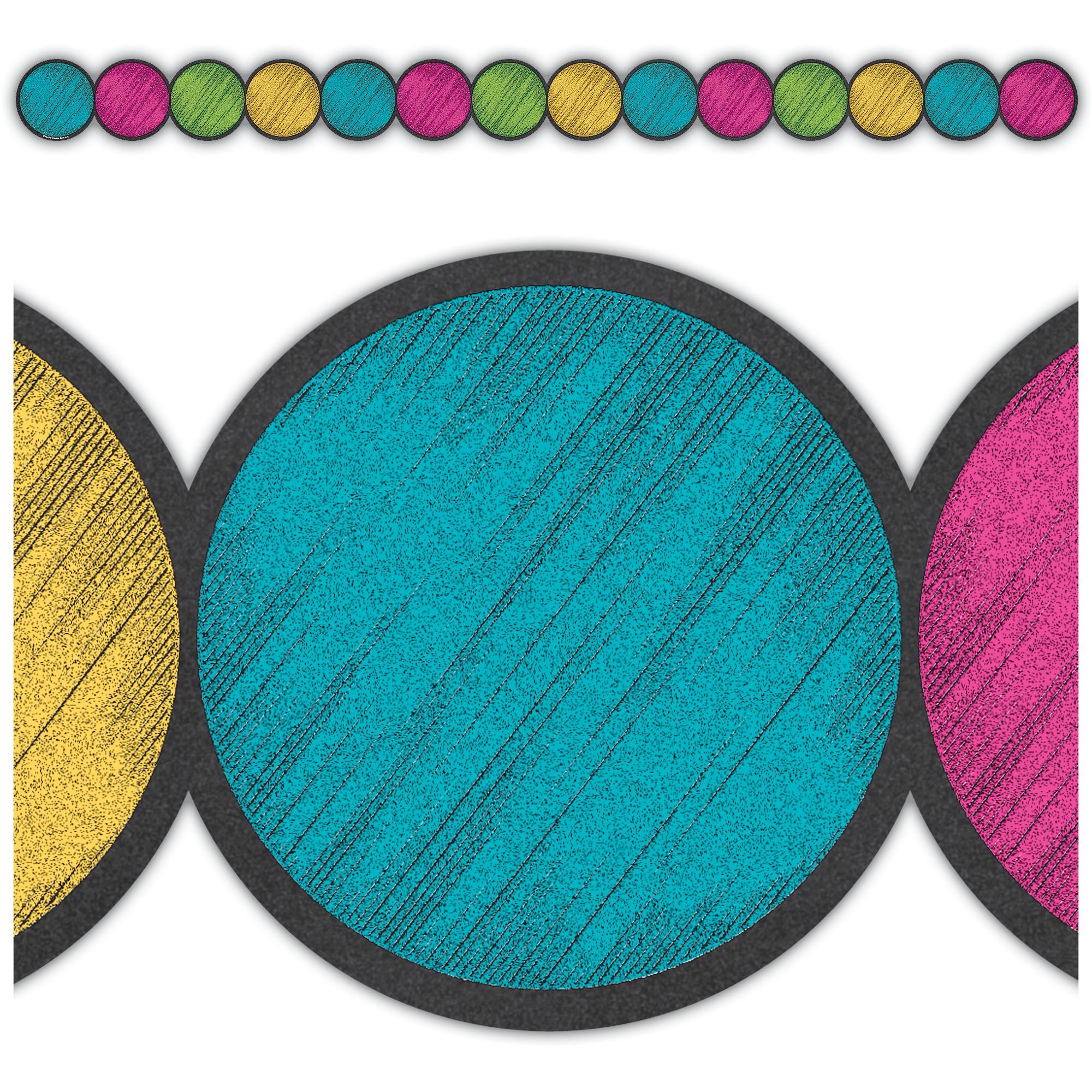 Chalkboard Stickers For Wall Chalkboard Brights Circles Die Cut Border Trim Tcr3498