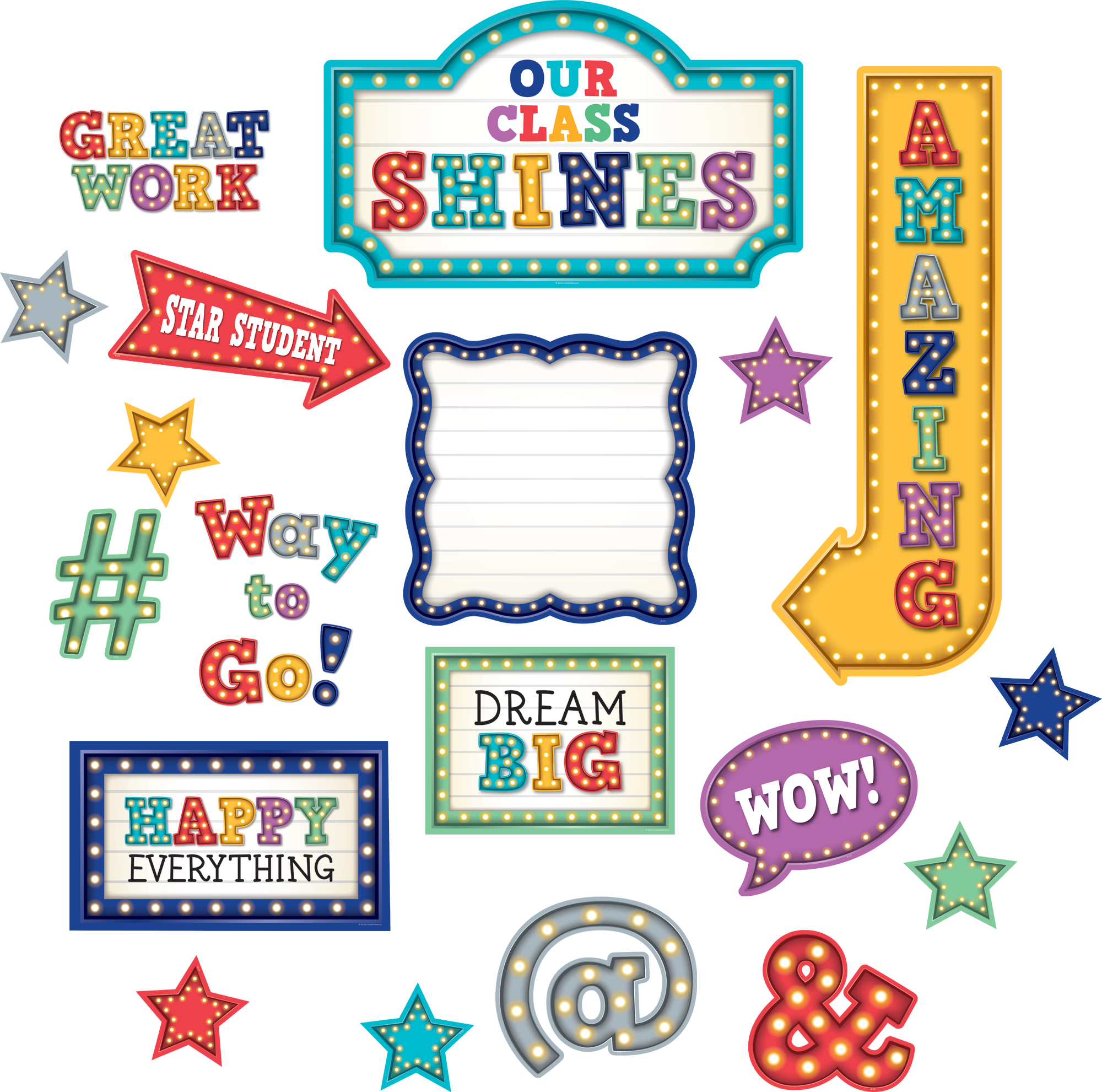 Free Classroom Decoration Resources ~ Marquee our class shines bulletin board tcr