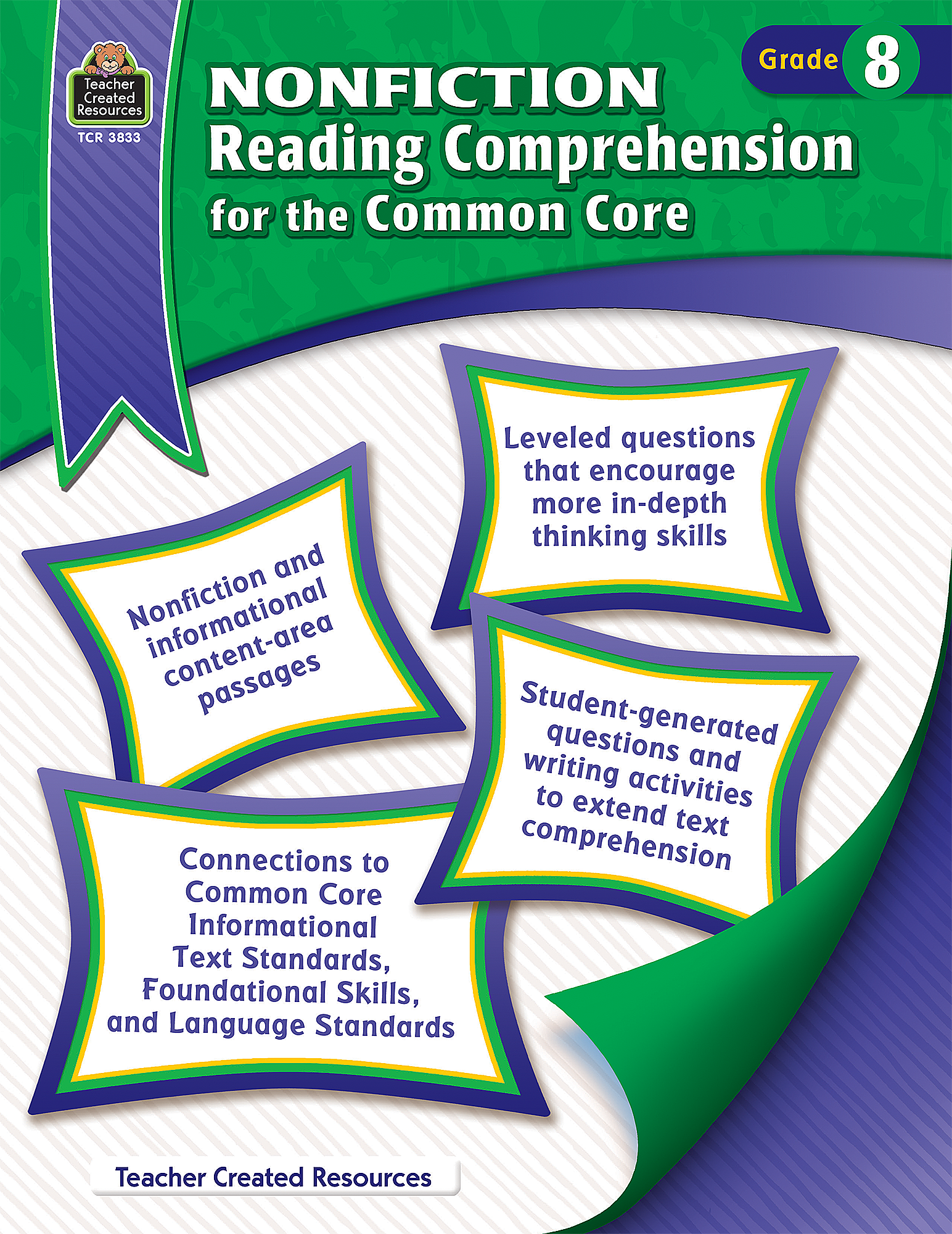 worksheet Common Core Reading Comprehension Worksheets nonfiction reading comprehension for the common core grade 8 tcr3833 teacher created resources