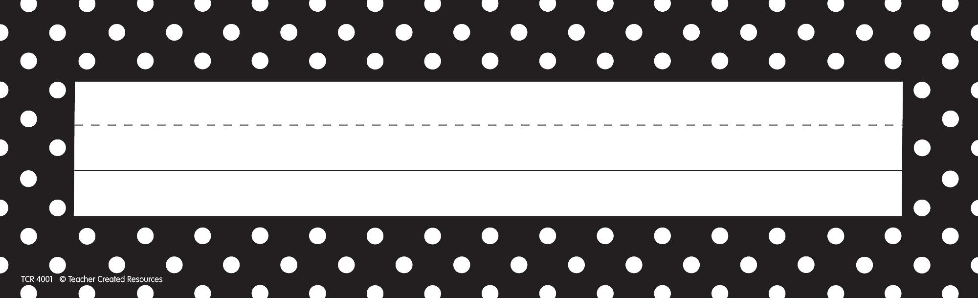 Black Polka Dots Flat Name Plates Tcr4001 Teacher
