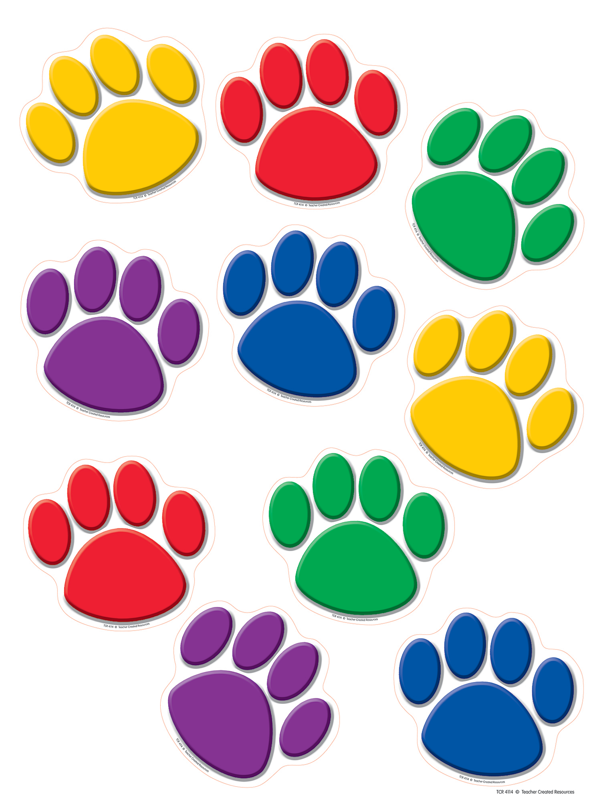 Colorful Paw Prints Accents Tcr4114 Teacher Created Resources