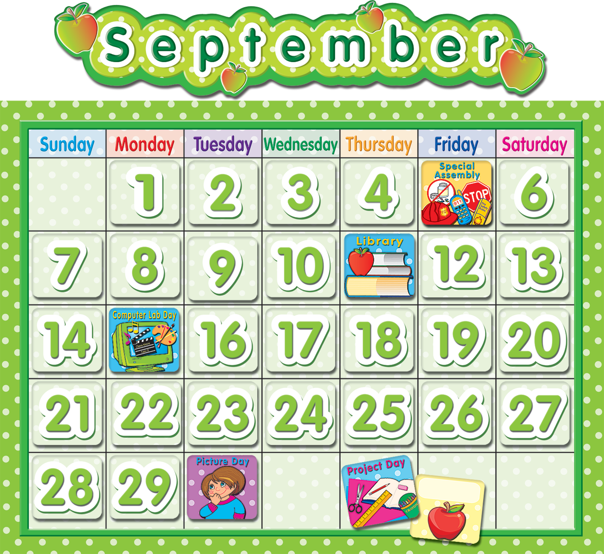 Classroom Calendar Bulletin Board Set : Polka dot school calendar bulletin board tcr