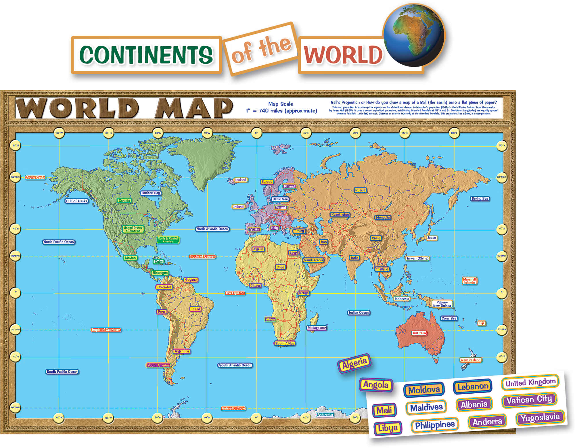 World Map Repositionable Bulletin Board Display Set TCR - World map to scale