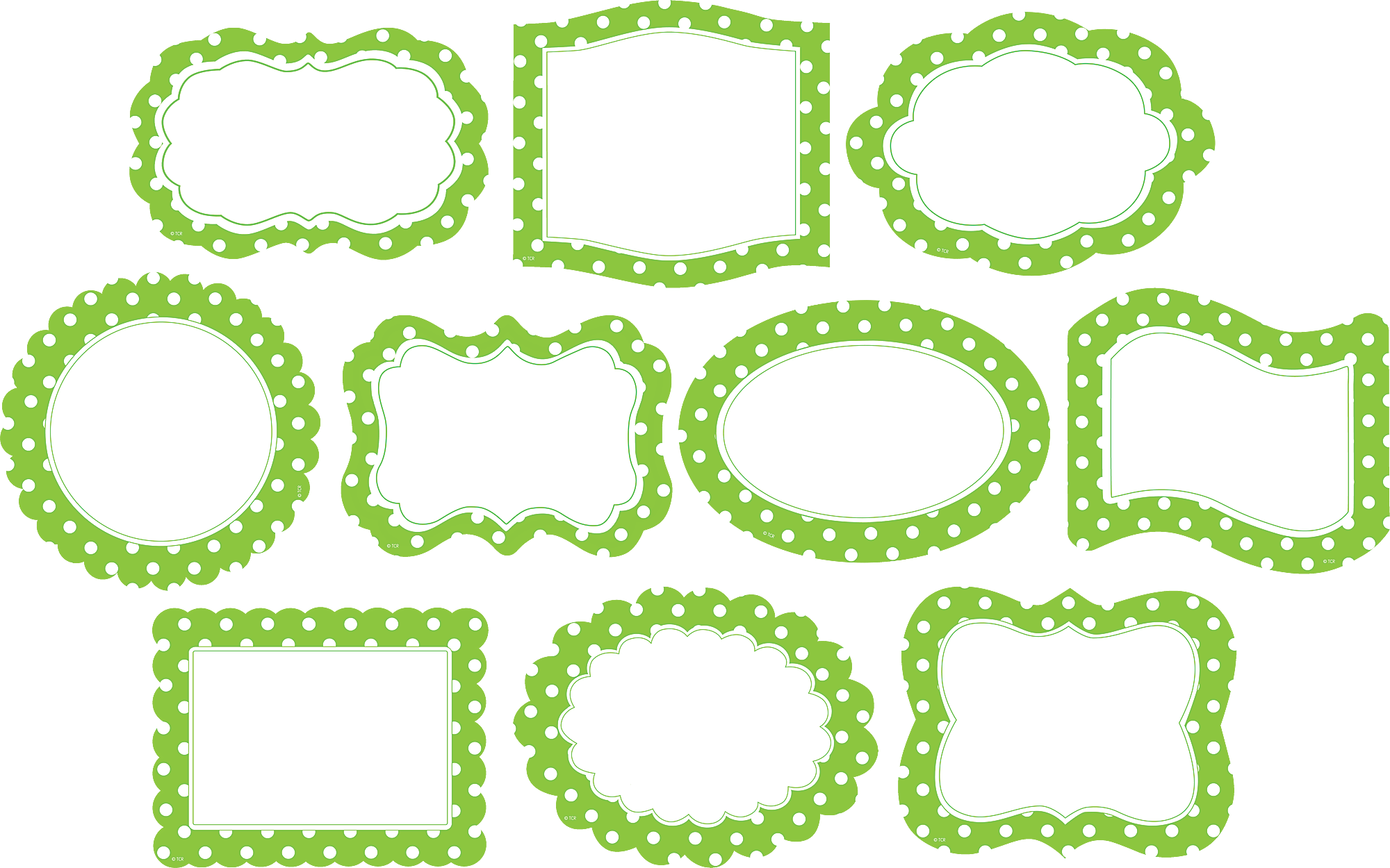 Lime Polka Dots Frames Accents - TCR4475 | Teacher Created Resources