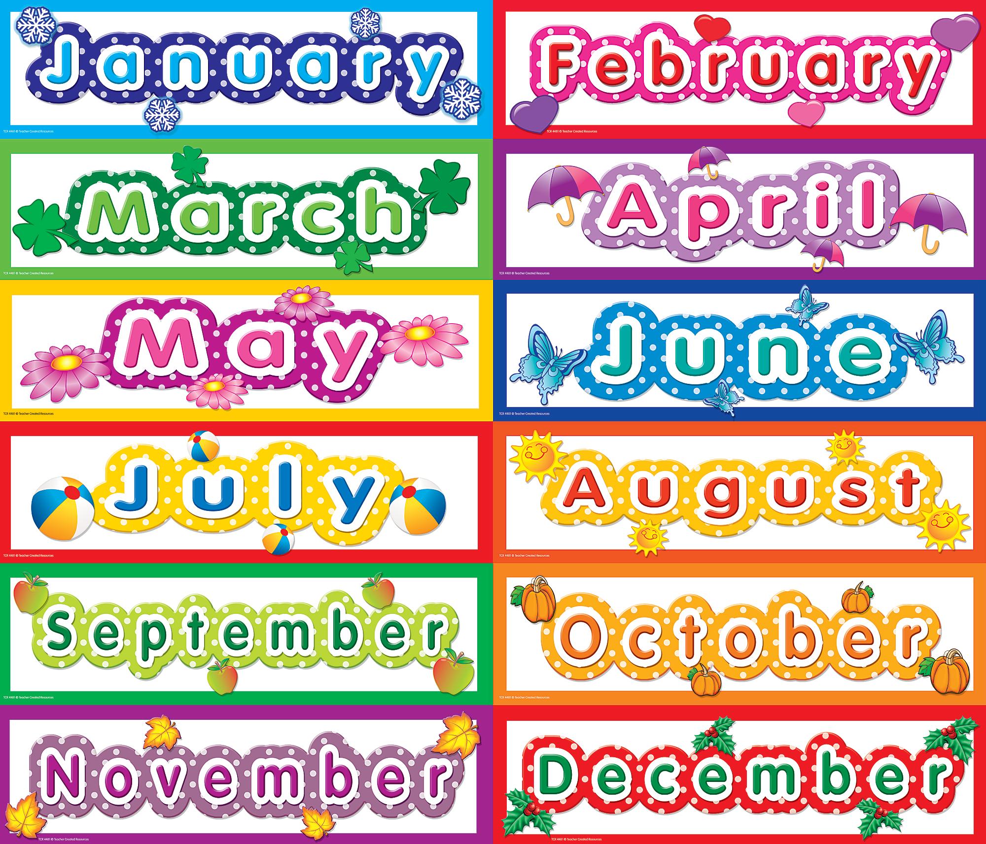 Classroom Calendar Printable : Polka dot monthly headliners tcr teacher created