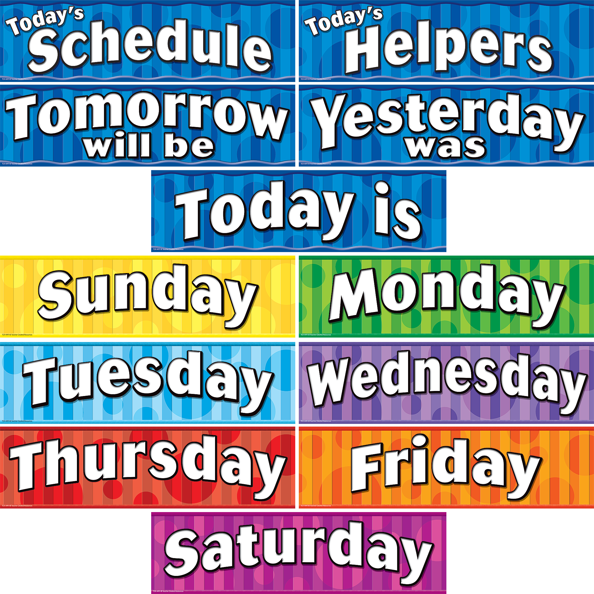days of the week headliners tcr4491 created