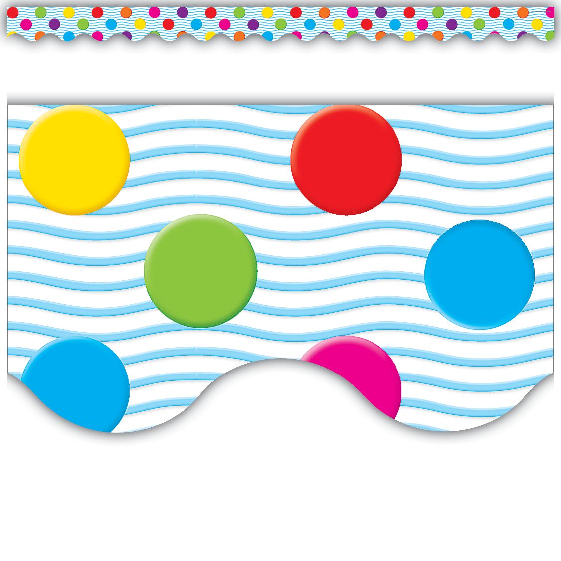 Polka Dot Stickers For Walls Multicolor Polka Dots Scalloped Border Trim Tcr4674