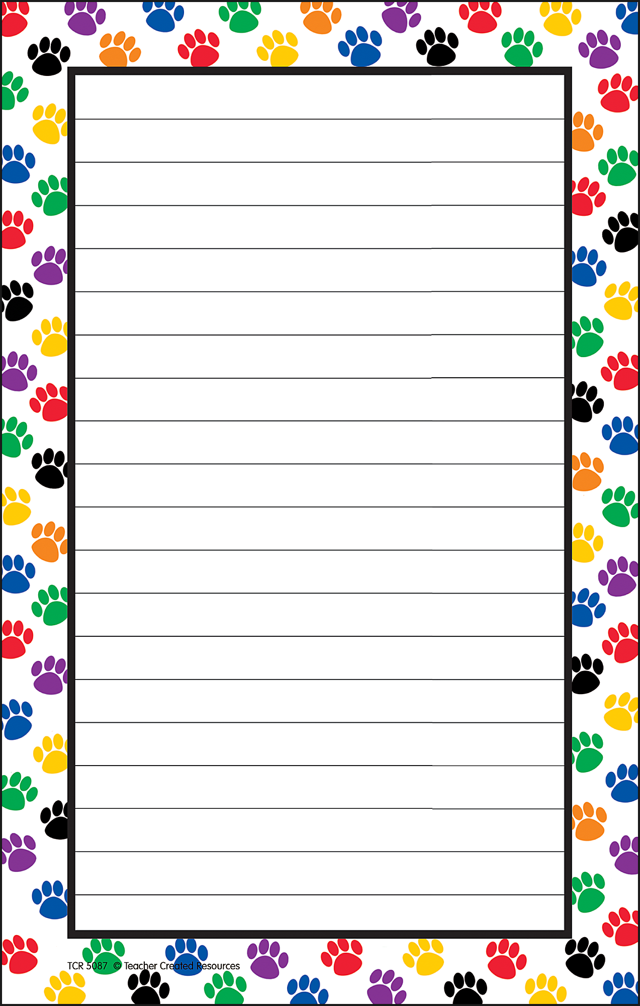 Blank Calendar With Lines : Colorful paw prints notepad tcr teacher created