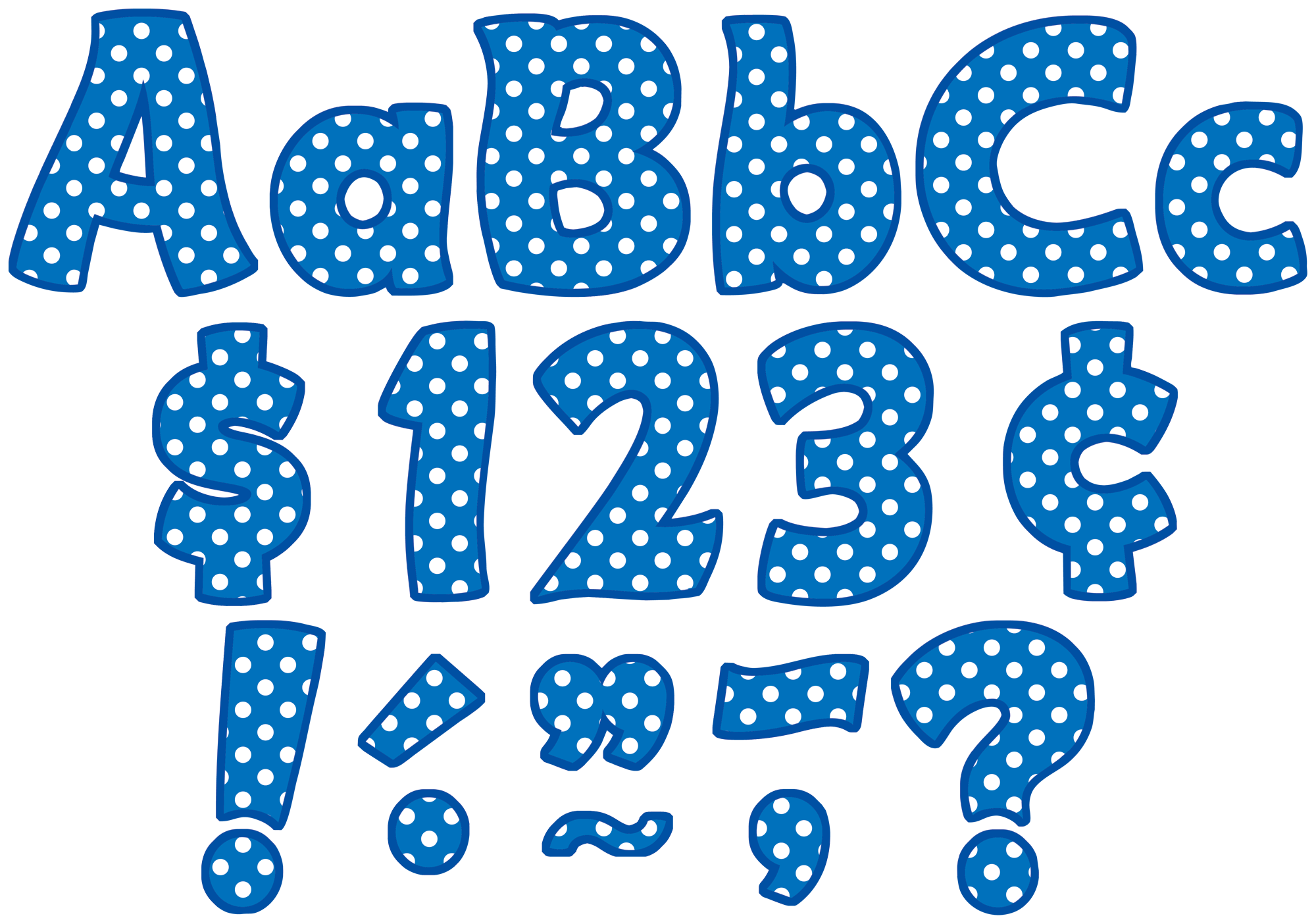 Blue Polka Dots Funtastic 4 Quot Letters Combo Pack Tcr5347