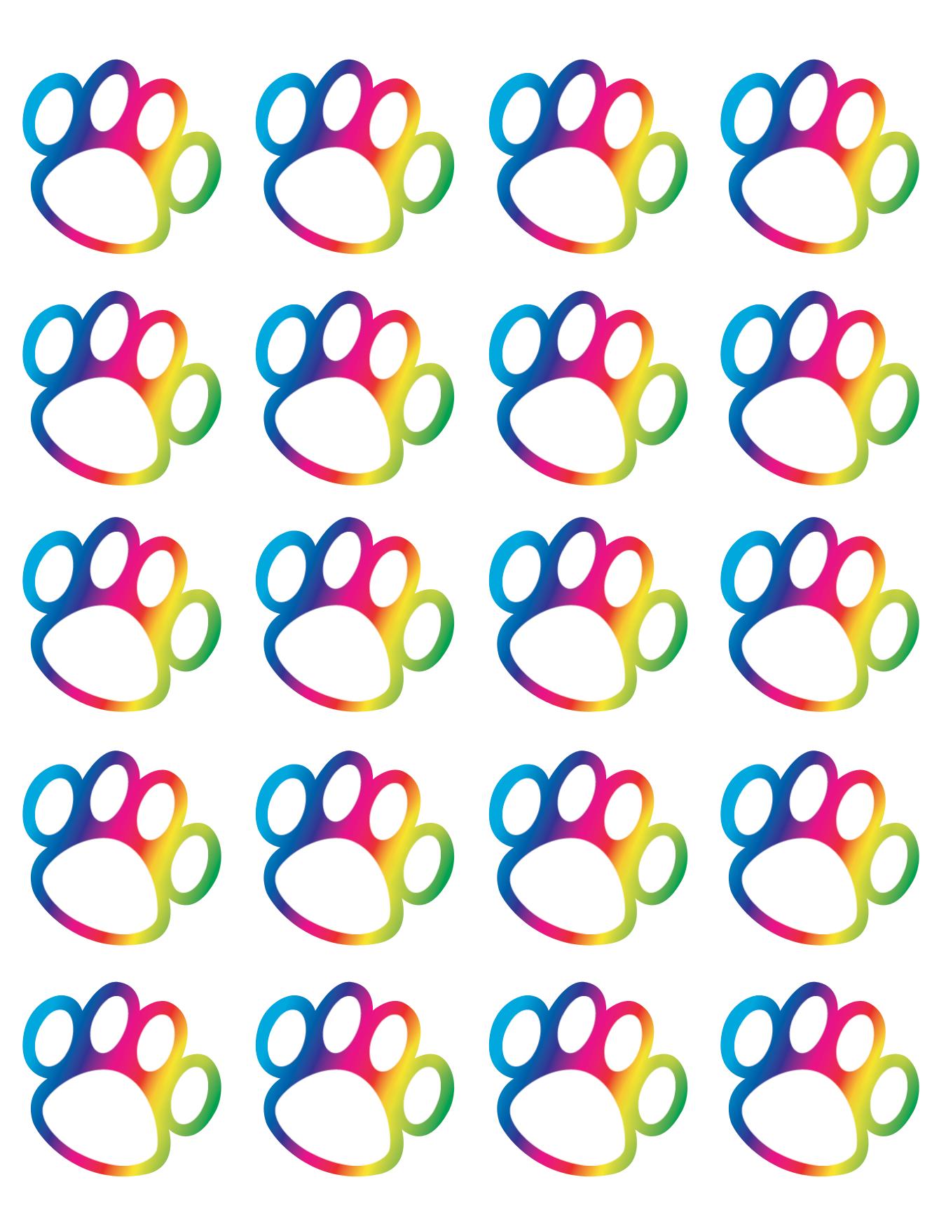 rainbow paw prints stickers