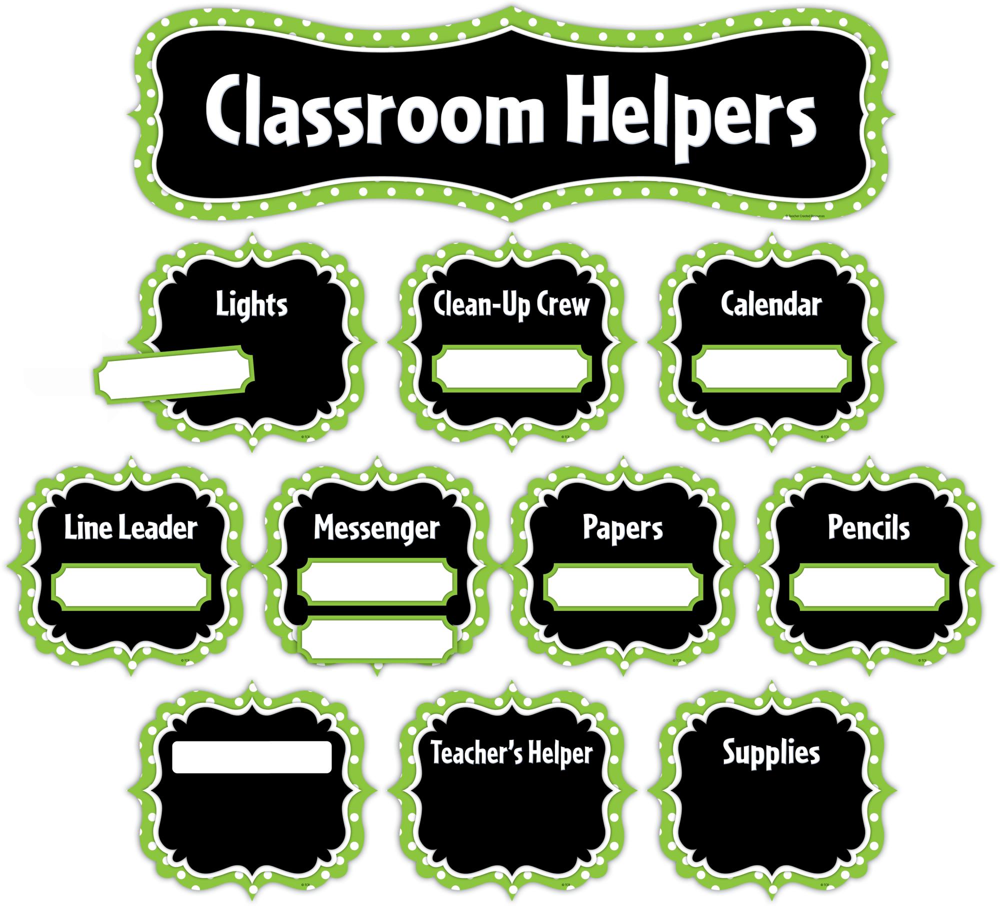 Innovative Classroom Jobs ~ Lime polka dots classroom helpers mini bulletin board