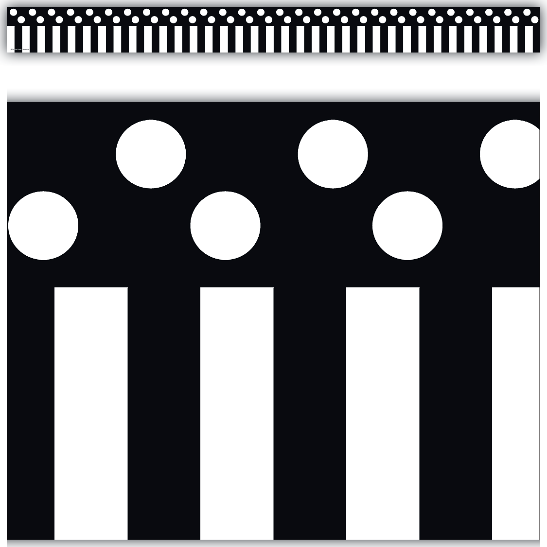 Black stripes and polka dots straight border trim for Striped and polka dot pumpkins