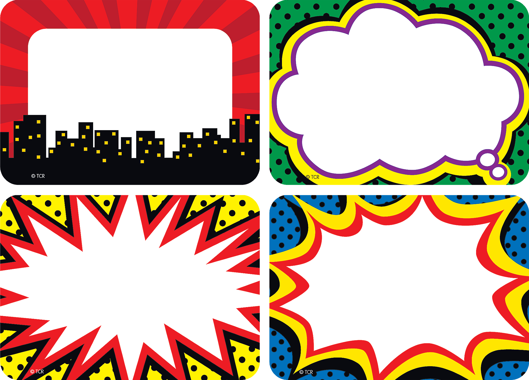 superhero name tags  labels - multi-pack
