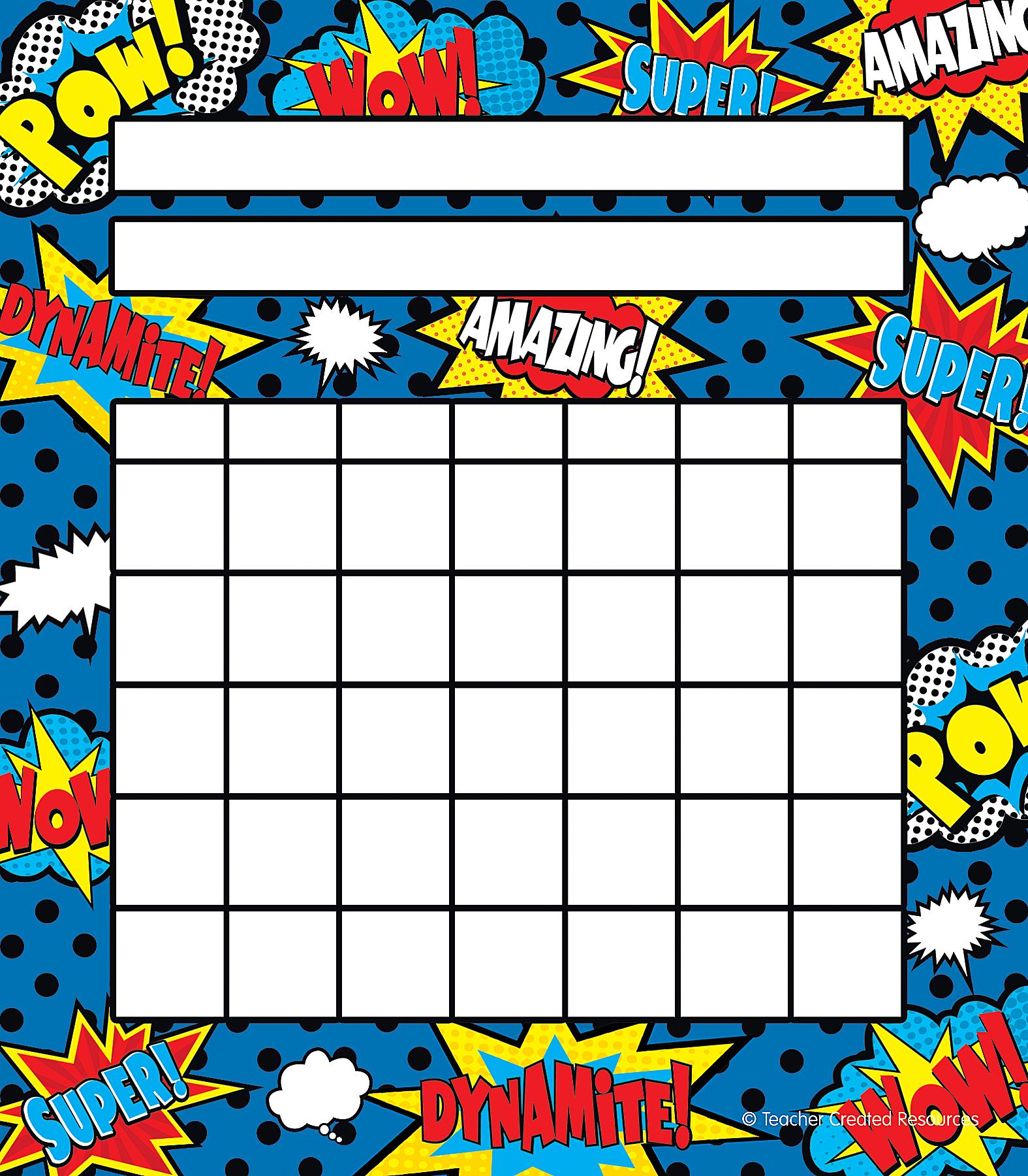 Superhero incentive charts tcr5646 teacher created resources