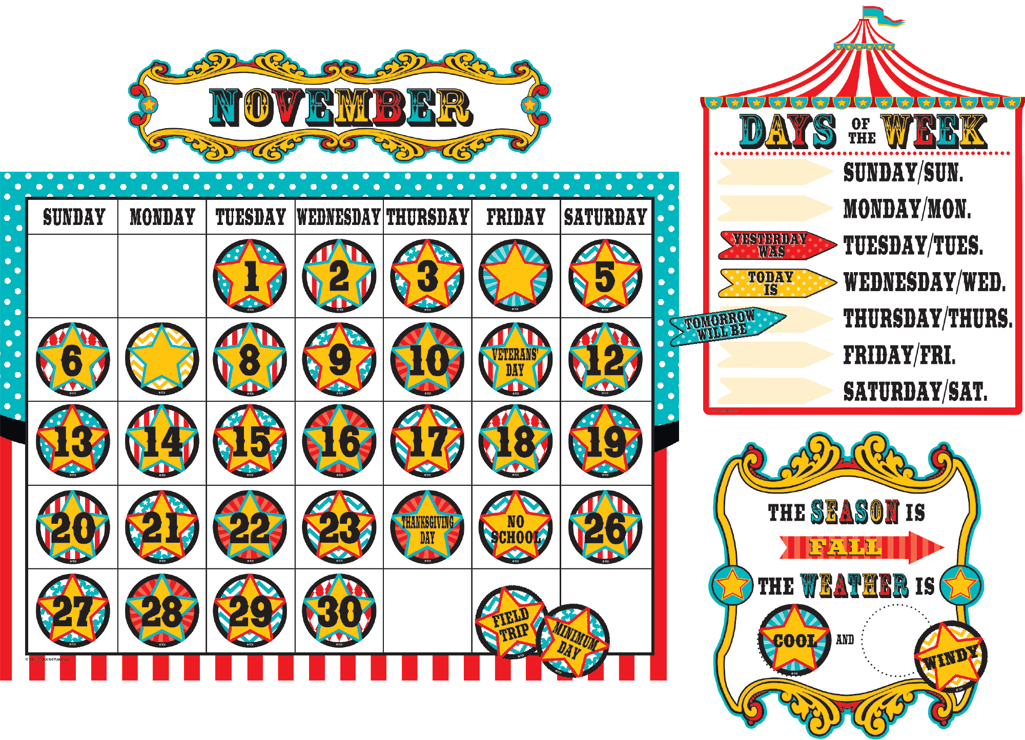 Classroom Calendar Display : Carnival calendar bulletin board display set tcr