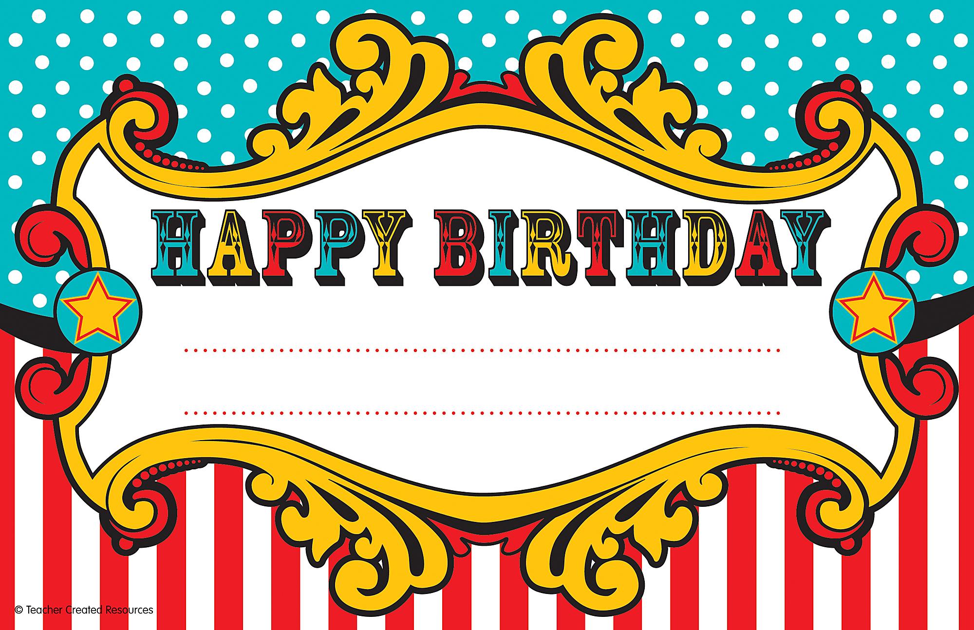 Carnival Happy Birthday Awards - TCR5806 | Teacher Created ...