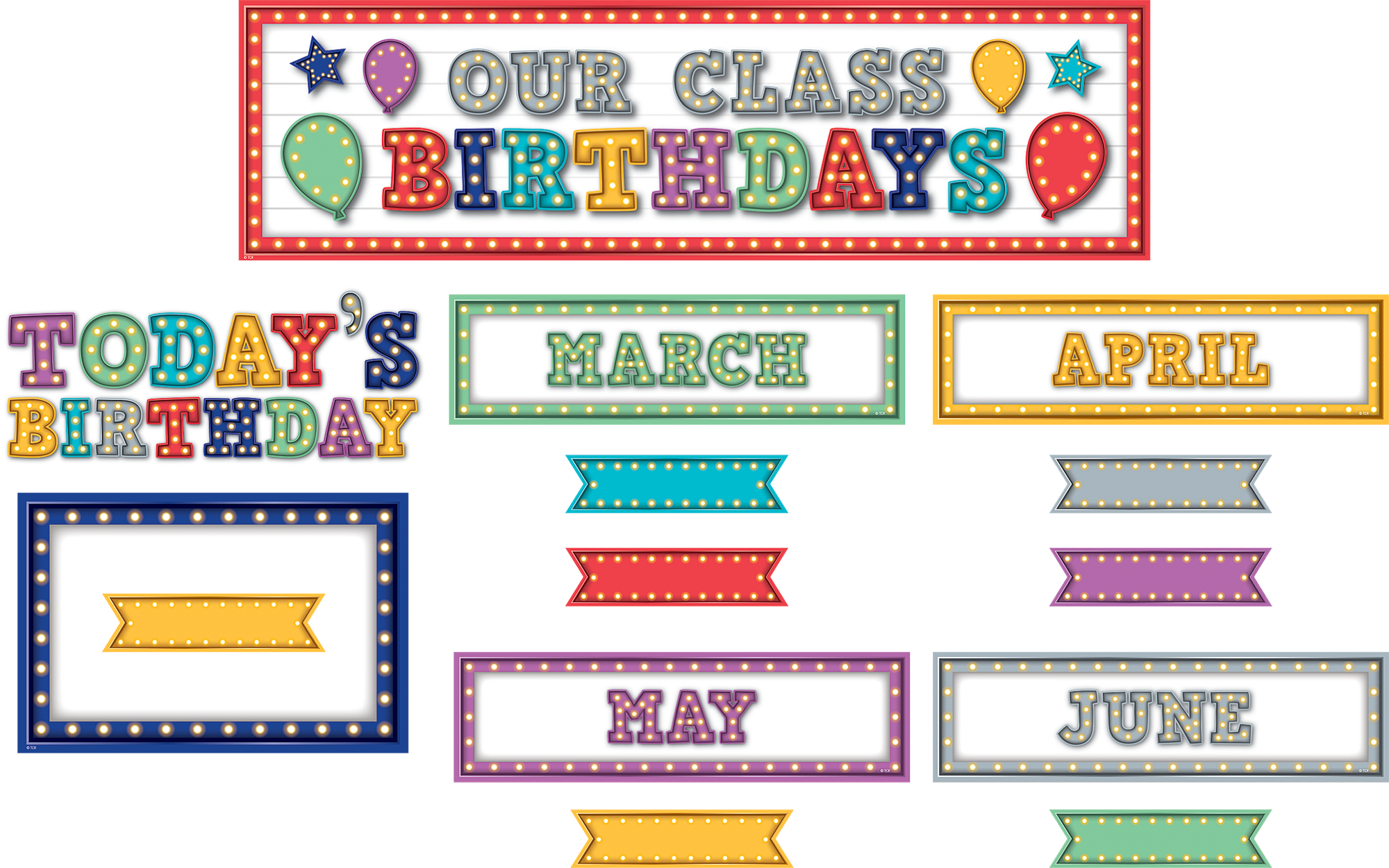 Classroom Decorations For Grade 7 ~ Marquee our class birthdays mini bulletin board tcr