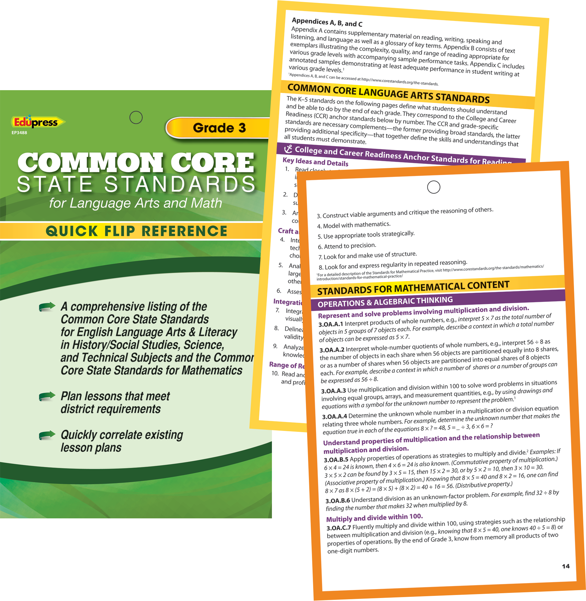 Quick Flip Reference for Common Core State Standards Grade 3