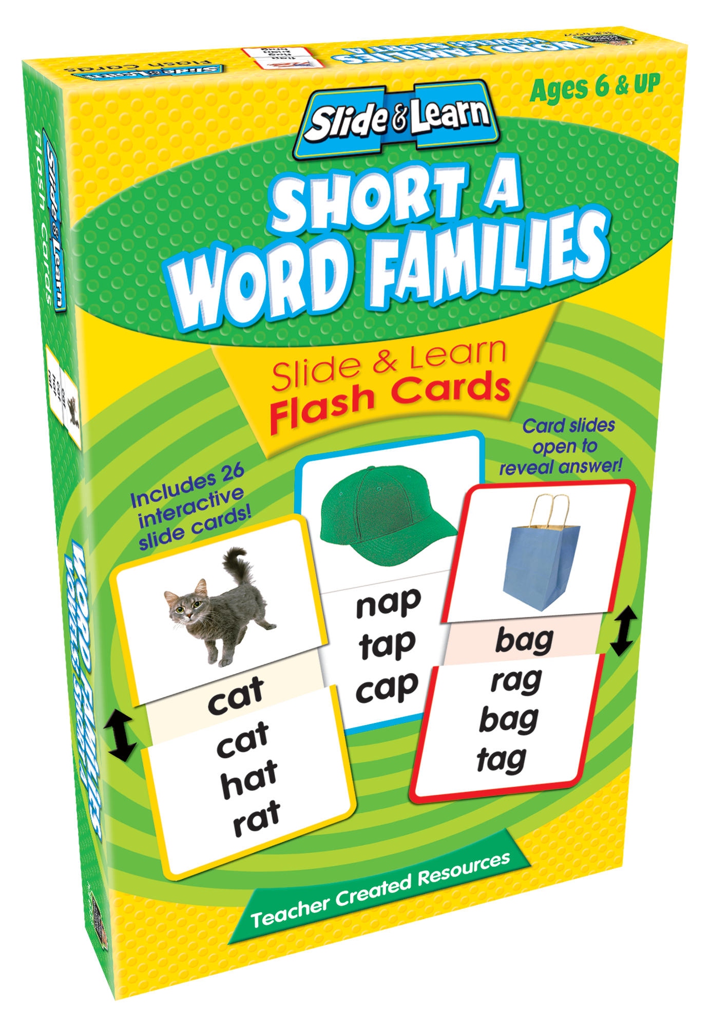 short a word families slide  u0026 learn flash cards