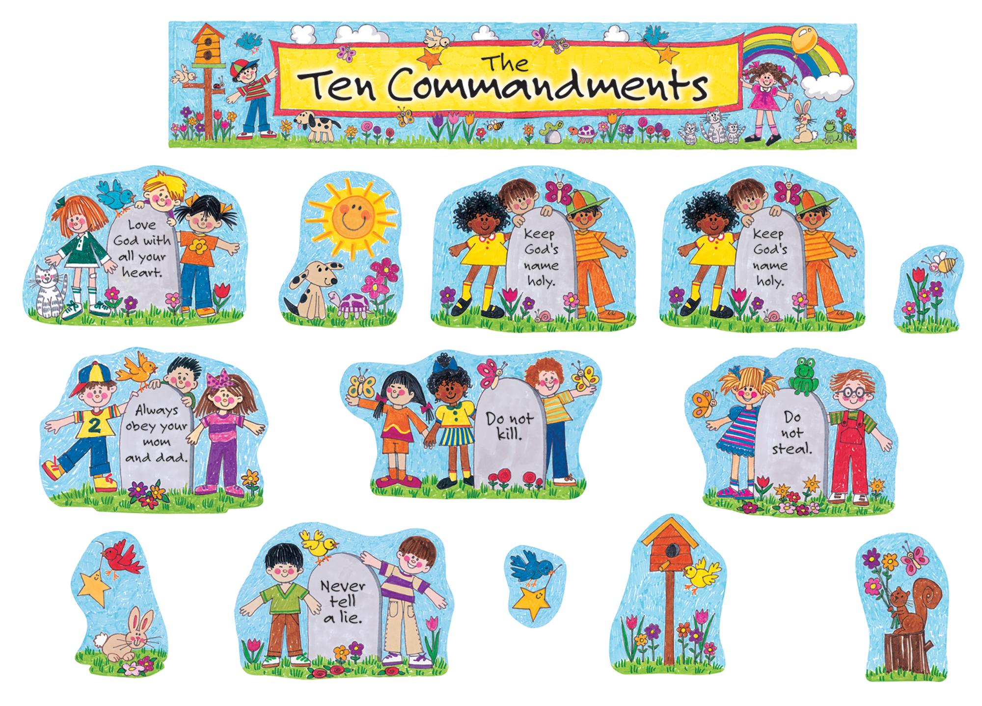 children s ten commandments bulletin board display set tcr7000