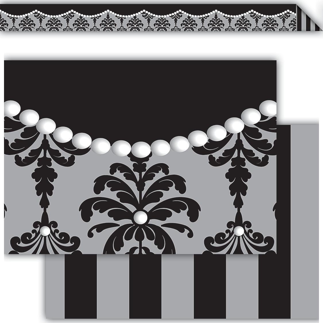 damask  u0026 pearls double-sided border