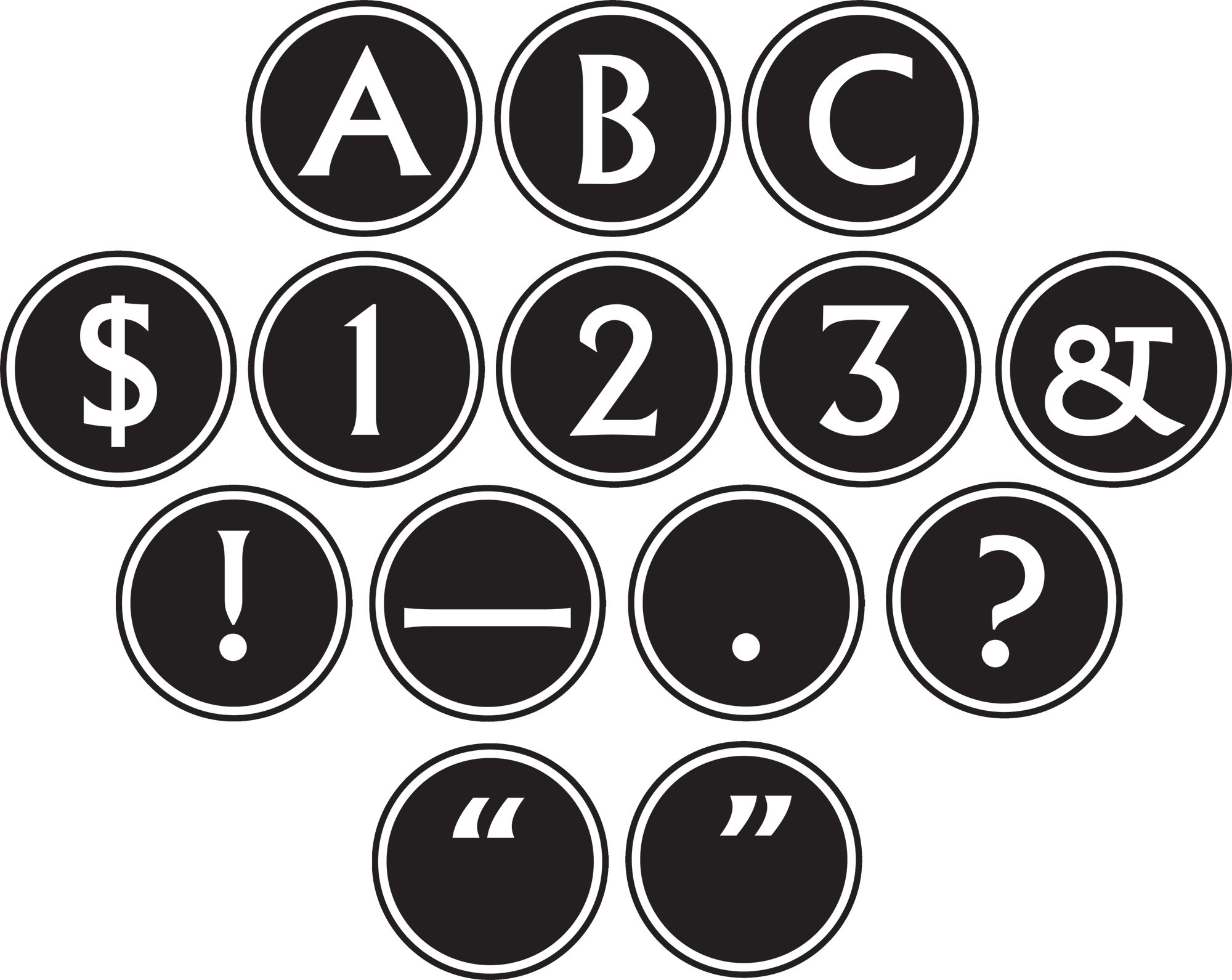 Big Bold Black White Circle Letters Tcr75400 Teacher Created
