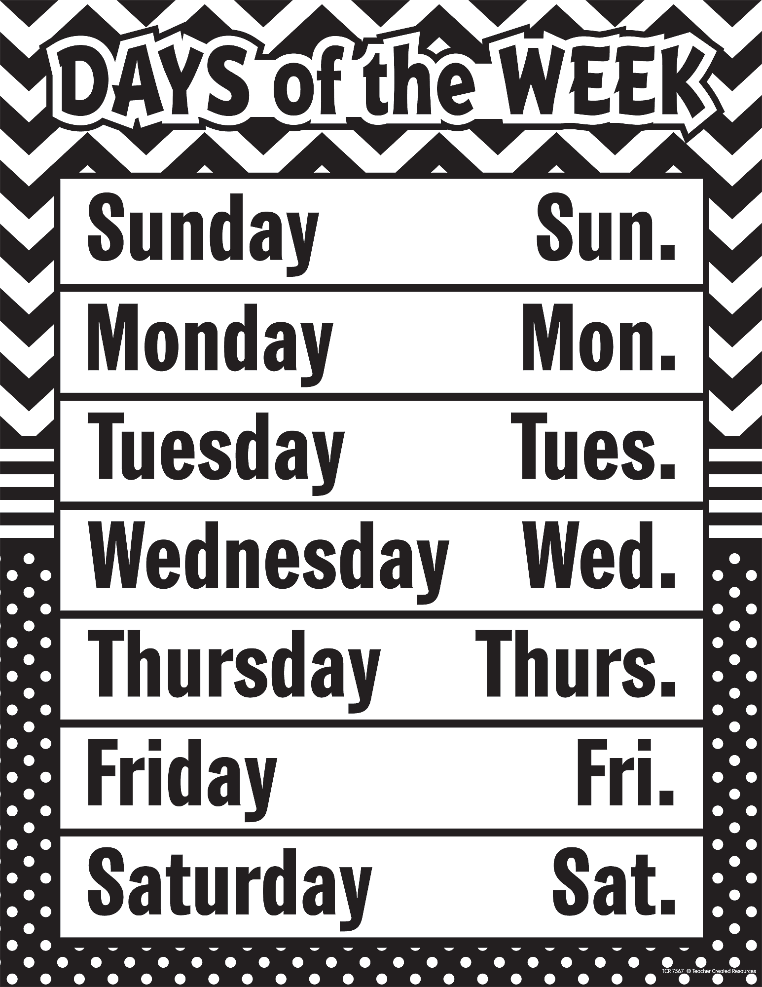 Birthday Calendar For Classroom : Black white chevron and dots days of the week chart
