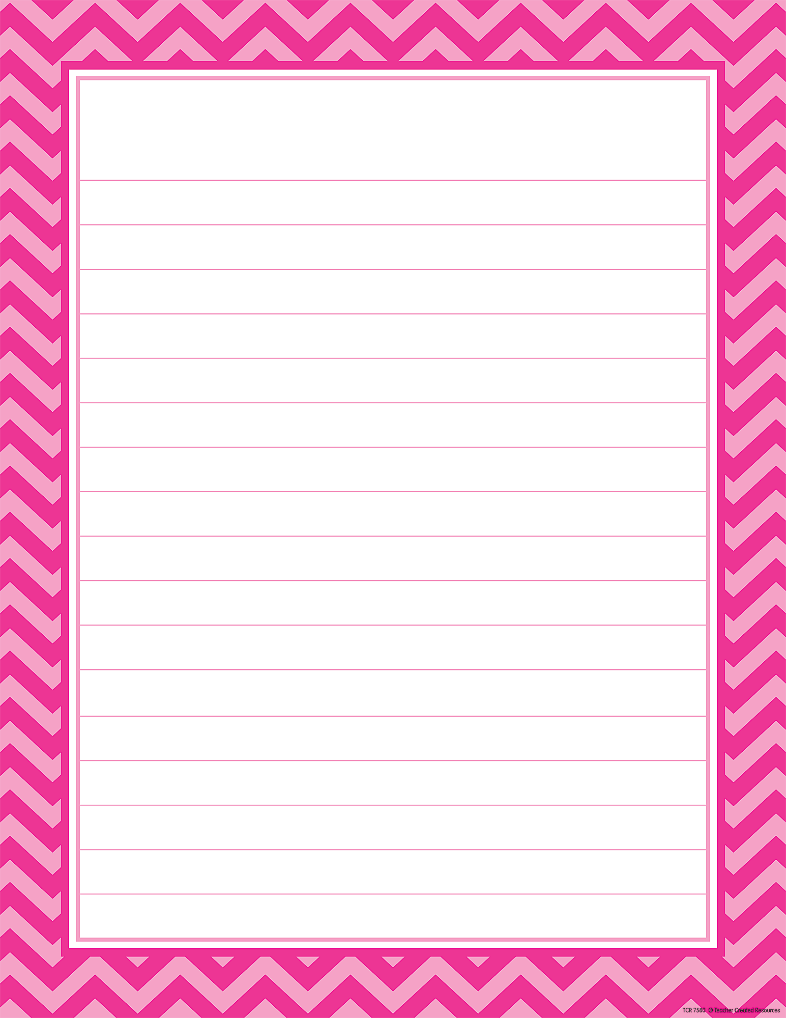 Hot Pink Chevron Lined Chart TCR7580 Teacher Created Resources