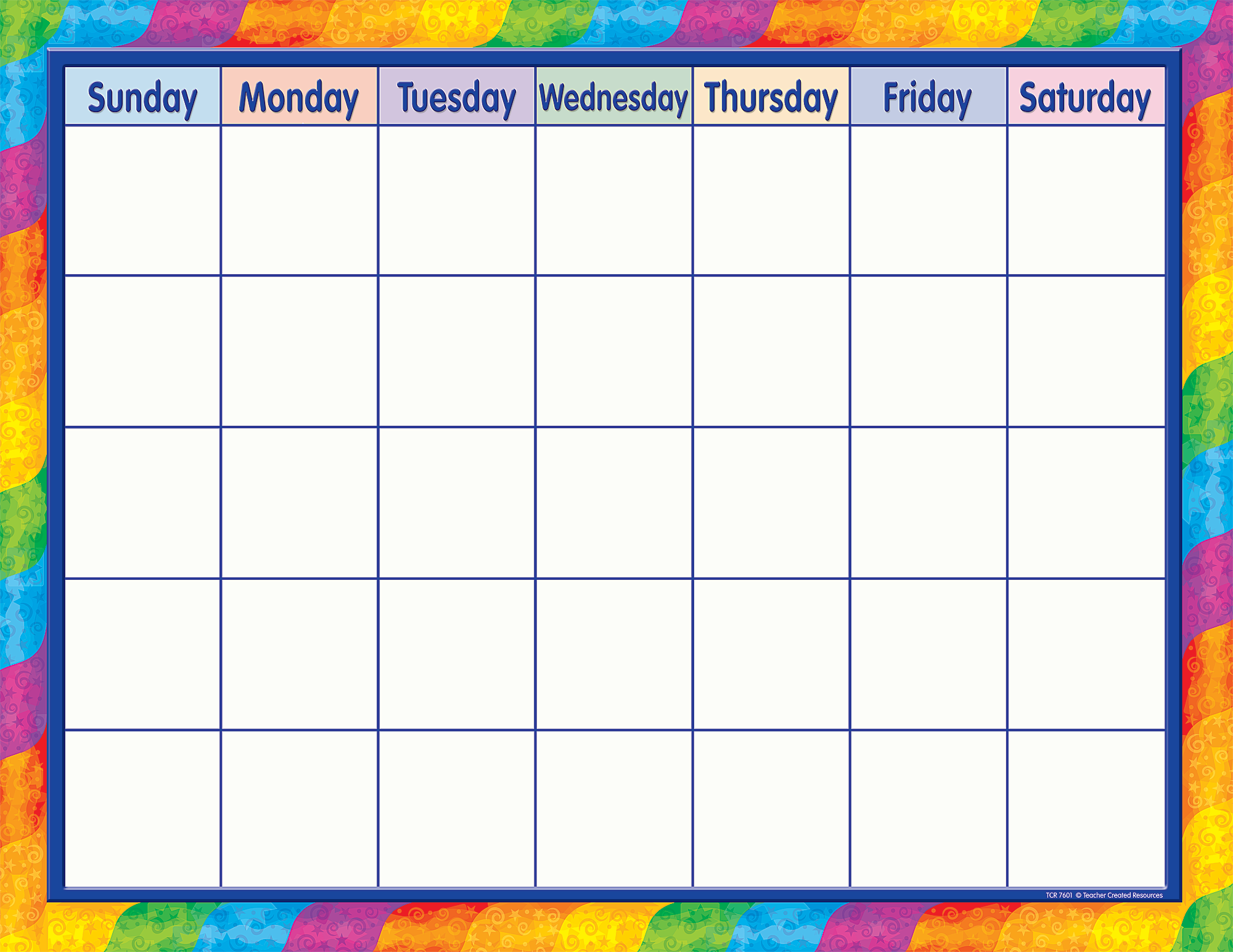 Rainbow Calendar Chart - TCR7601 | Teacher Created Resources