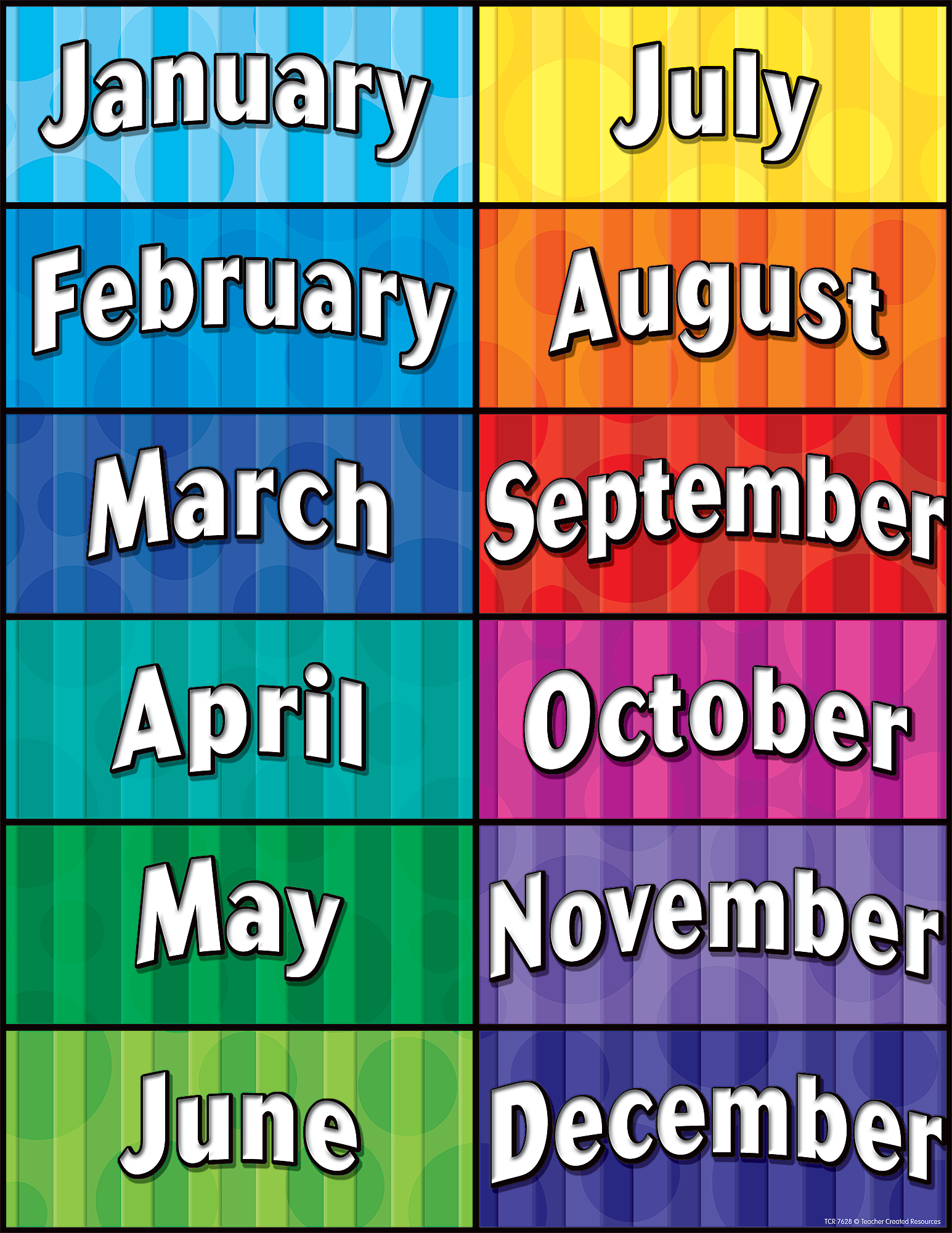 months of the year chart tcr7628 teacher created resources